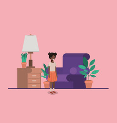 Teenager black girl in livingroom vector