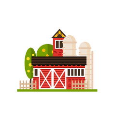 Traditional american red barn and silo vector