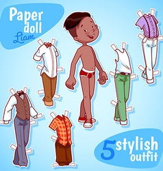Very cute paper doll with five stylish outfits vector