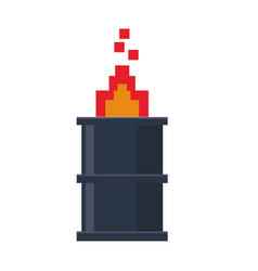 Videogame pixelated barrel with fire symbol vector