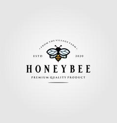 Vintage bumblebee logo village farm design vector