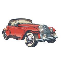 Vintage of red retro car in vector