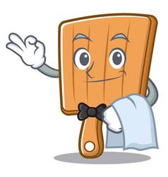 waiter kitchen board character cartoon vector image
