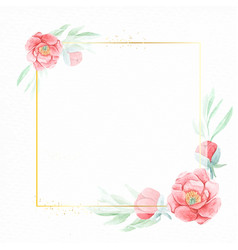 watercolor red peony flower with geometric golden vector image