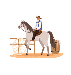 western cowboy in hat sitting horseback and riding vector image