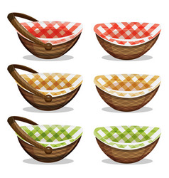 Wicker basket set vector