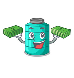 With money cartoon water tank on the tower vector