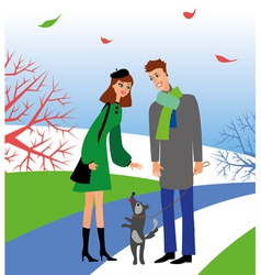 Woman and man with dog vector image