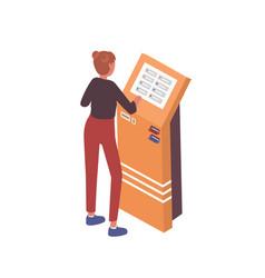 Woman using atm or cash dispenser modern self vector