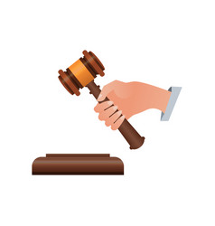 Wooden judge gavel isometric 3d elements vector