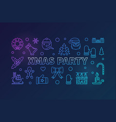 xmas party colorful outline horizontal vector image