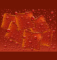 dark red water with drops and ice cubes background vector image vector image