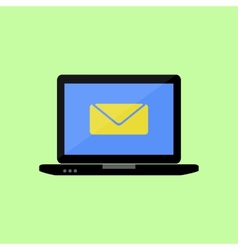 Flat style laptop with mail icon vector image vector image