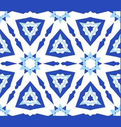 Kaleidoscopic white blue flower pattern vector