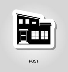 post black silhouette building sticker vector image
