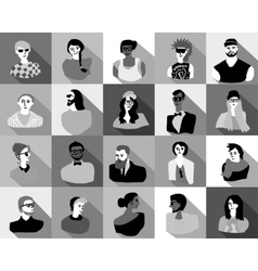 Young fashion people icons portrait flat vector image