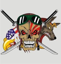 animal sword skull vector image vector image