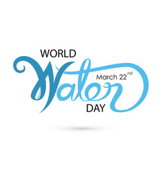 Blue world water day typographical design vector