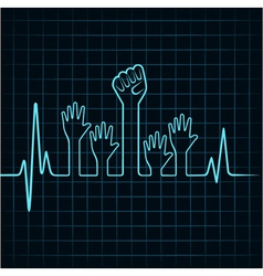 Heartbeat make helping and unity hand vector