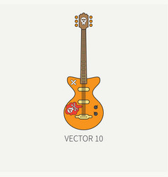 Line flat color icon musical instruments - vector