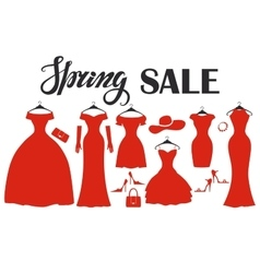 Red party dresses SilhouetteFashion saleSpring vector image