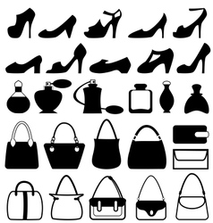 Set of flat woman accessories isolated on white vector image vector image