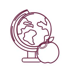 Silhouette earth plenet desk with apple fruit vector