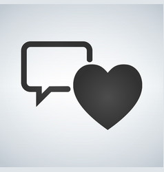 speech bubble with heart thin line icon on white vector image