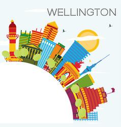 wellington skyline with color buildings blue sky vector image vector image