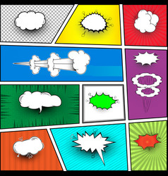a set of comic bubbles and elements with halftone vector image vector image
