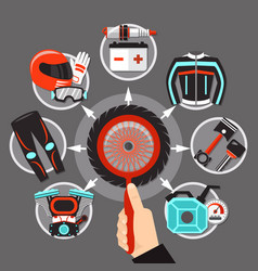 bike icons in circle design vector image vector image