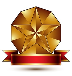 Complicated golden design element with pentagonal vector image
