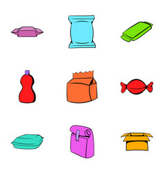 different package icons set cartoon style vector image vector image