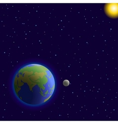 earth moon and sun vector image vector image
