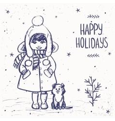 Girl with a dog card vector