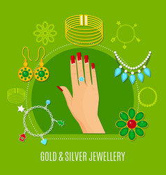 gold and silver jewelry composition vector image vector image