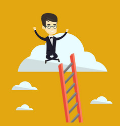 Happy business man sitting on the cloud vector