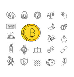 set of line stroke bitcoin icons vector image vector image