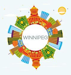 winnipeg skyline with color buildings blue sky vector image vector image