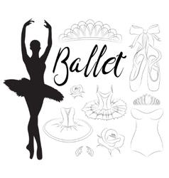 Ballet icon set vector image