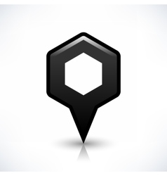 Black blank map pin sign hexagon location icon vector image vector image