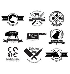 butcher shop logo and label vector image