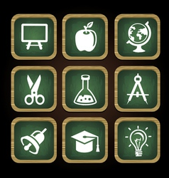 Education icons in square frames - back to school vector image
