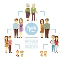 Family tree with people icons of four generations vector image vector image