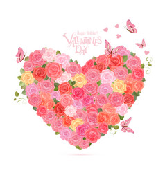 flower heart with flying butterflies lovely roses vector image vector image