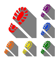 footprint boot sign set of red orange yellow vector image