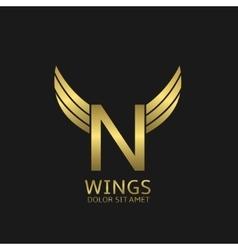 Golden N letter logo vector image vector image