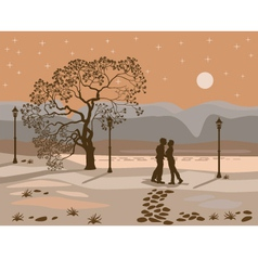 kissing couple in the park at night vector image vector image