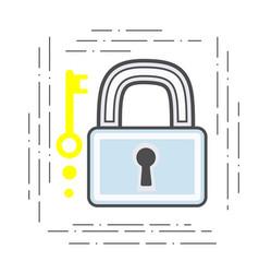 padlock and key modern flat line vector image