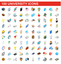 100 university icons set isometric 3d style vector image